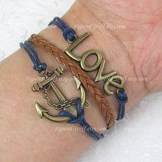 anchor bracelet love bracelet antique silver / by figuredstuff, $3.99