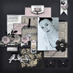 PORTRAIT - a layout by Patmiaou. Great layering and use of stamps to create background and embellishment pieces.