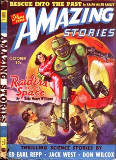 scificovers: Amazing Storiesvol 14 vo 10 October 1940. Cover art by Leo Morey illustratingRaiders Out Of Space by Robert Moore Williams.