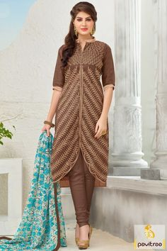 New latest trendy fashionable brown multi color printed dtraight salwar suit online in Surat online shopping site at Pavitraa.in. A good looking embroidery salwar kameez with offer. #salwarsuit, #casualsalwarsuit more: http://www.pavitraa.in/store/casual-dress/