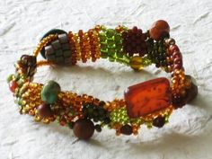 Golden Gem  Free Form Peyote Stitch Beaded Bracelet by Cheri C Meyer,