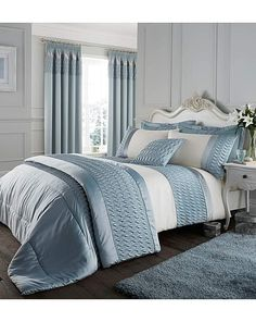 Stylish and contemporary duvet covers available from Dunelm. Our bed linen range includes a variety of colours and patterns, all made with high quality material and in every size, from single to king size duvet covers. Satin Bedding, Duvet Bedding, Blue Bedding, Satin Curtains, Blue Bedspread, Luxury Bedding, Bedroom Drapes, Linen Bedroom, Master Bedroom