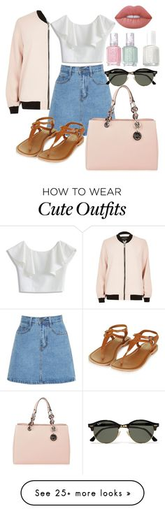 """""""Outfit: Cute"""" by danise125 on Polyvore featuring Chicwish, Topshop, River Island, MICHAEL Michael Kors, Ray-Ban, Essie and Lime Crime"""