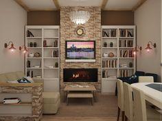 Вид на зону отдыха: ТВ, искусственный камин, книжные полки и мягкое освещение.