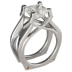 Calatrava Scaffolding Engagement tiny stones are orange diamonds Lovely