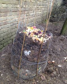 Home-made compost heap.