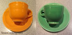 Fiesta Cup and Saucer vs. Vintage Fiesta Cup and Saucer Fiesta Ware Colors, Vintage Dishware, Homer Laughlin, Shop Ideas, Drinking Tea, Vintage Patterns, Cup And Saucer, Dinnerware, Vintage Style
