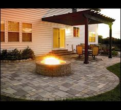 Patio with a fire pit