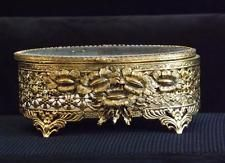 LARGE OVAL BEVELED GLASS GOLD ORMOLU FILIGREE CASKET TRINKET JEWELRY BOX