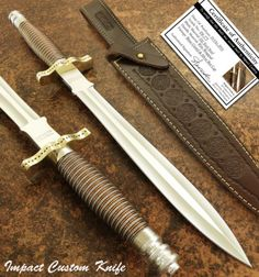IMPACT-CUTLERY-RARE-CUSTOM-D2-FIGHTING-ART-DAGGER-KNIFE-WIRE-WRAPPED-HANDLE