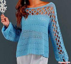 . Универсально. Модный ярко-голубой пуловер. - Все в ажуре... (вязание крючком) - Страна Мам