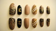 Chanel Press-On Stilleto Nails with Chains and Pearls. $25.00, via Etsy.