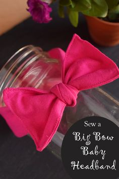 Knit Bow Baby Headband | Sew a quick big bow headband for a baby girl. Cute baby shower gift DIY with tutorial
