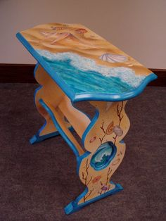tropical painted furniture beach theme hand painted recycled furniture original art library book shelf occasional table beach theme ocean shells coral waves 24 21 best furniture tropical images on pinterest painting