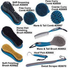 Oster Horse Grooming Tools. Love them all and use em all the time! Hoof pick and mane and tail brush are my favs!