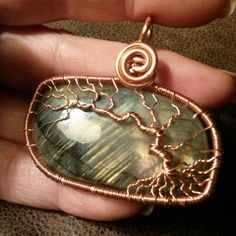 Copper Tree of Life Pendant with Labradorite Wire by CPaulDesigns