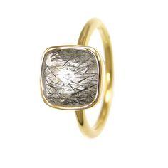 Black rutilated rings - Stackable Semi Precious Gemstones Cushion rings - Bezel rings 62$