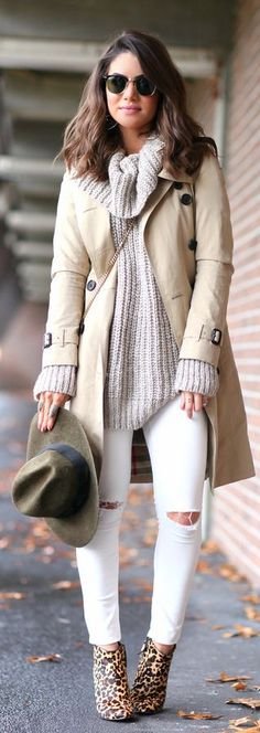 Gray cowl neck sweater + tan coat + white distressed jeans + olive hat + leopard print booties