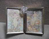 Picture Frame - Double 2 1/2 x 3 1/2 Goldtone Vintage Metal Picture Frame with Beautiful Iridescent Bead Jewel