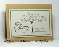 Pet Sympathy Card using the Thoughts and Prayers and So Sorry Stamp Sets - Stampin' Up!