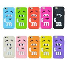 """Yumuşak silikon M & M Parfüm Çikolata renkli Gökkuşağı Fasulye telefon kılıfı karikatür kapak iphone 6 4.7 """"6 S(China (Mainland))"""