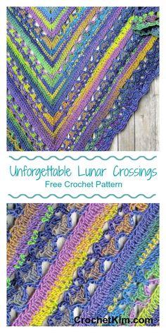 CrochetKim Free Crochet Pattern | Unforgettable Lunar Crossings Shawl #redheartyarn #joycreators