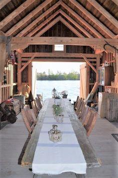 Dining room - in a boat house, Scandinavia Husmannsplassen i Hidlesundet Cabana, Boat Shed, Haus Am See, Lakefront Property, Winter Cabin, Lake Cabins, Boat Dock, Rustic Design, Tiny Houses