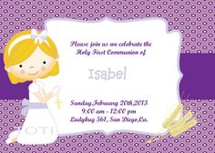 First Communion Invitation by TOTI67 on Etsy, $12.00