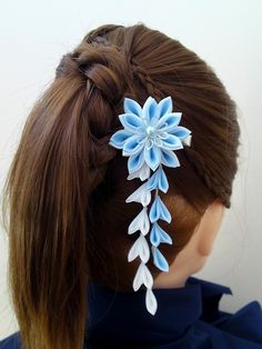 Items similar to Light Sky Blue and White Fabric Flower Hair Alligator Clip Hana Tsumami Kanzashi on Etsy