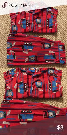 🚫SOLD🚫THOMAS the Train - Flannel PJ's If you have a toddler that loves Thomas the Train. This is for you!  Cleaning my Son's closet at his Grandparents.  Only worn a few times. Flannel Button Down Shirt with Paints.   Bundle and Save! Thomas & Friends Pajamas Pajama Sets