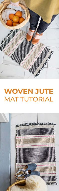 Woven Jute Mat Tutorial - A Beautiful Mess Homemade House Decorations, Jute Mats, Craft Room Storage, Homemade Crafts, Mason Jar Diy, Vinyl Projects, Sewing Projects, Diy Arts And Crafts, Weaving Techniques