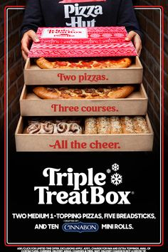 Sleigh the season with the Triple Treat Box®—an easy holiday meal packed with two medium pizzas, breadsticks, & Cinnabon® Mini Rolls. Wedding Cake Frosting, Cake Frosting Recipe, Frosting Recipes, Triple Treat Box, Giraffe Crafts, Bread Recipes, Cooking Recipes, Mini Rolls, Easy Holiday Recipes