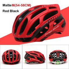 Queshark Cycling Helmet Road Mountain In-mold Bicycle Helmet Ultralight Bike Helmet With LED Warning Lights
