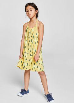 Bawełniana sukienka z nadrukiem - Dziewczynka | MANGO Kids Polska