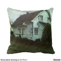House photo drawing throw pillow