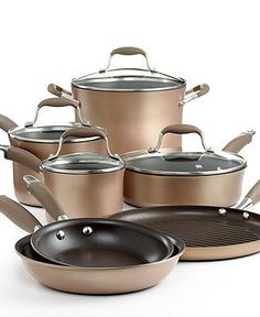 I like this color for nonstick pans. Anolon Advanced Bronze Cookware Set, 11 Piece Hard Anodized Nonstick - Cookware - Kitchen - Macys Bridal and Wedding Registry Cast Iron Cookware, Cookware Set, Casseroles, Induction Cookware, Bronze Kitchen, Pots And Pans Sets, Kitchen Supplies, Kitchen Tools, Kitchen Ideas
