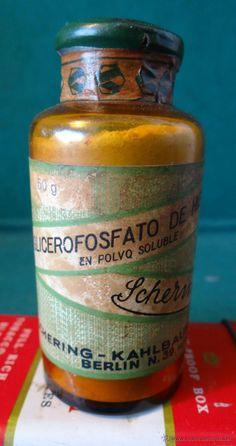 ANTIGUO FRASCO FARMACIA - GLICEROFOSFATO HIERRO - SCHERING - BERLIN - MOVIL 20 CTS. - AÑOS 1940,s  estalcon@gmail.com