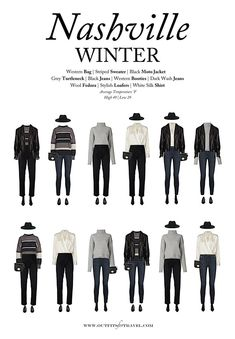 What To Wear To Nashville In The Winter Our Nashville ; was sie im winter nach nashville tragen sollten unser nashville What To Wear To Nashville In The Winter Our Nashville ; Cute Travel Outfits, Winter Travel Outfit, Vacation Outfits, Winter Outfits, Winter Travel Packing, Winter Clothes, Capsule Wardrobe, Travel Wardrobe, 10 Piece Wardrobe