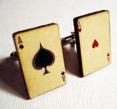 Ace of Spades and Ace of Hearts vintage style playing cards on silver cufflinks