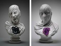 "Livio Scarpella (contemp., Italian) Opposite destinies (the ""blessed"" and ""damned"") are signified through either a light quartz or dark amethyst rock placed near the heart of the heart of the sculpture."