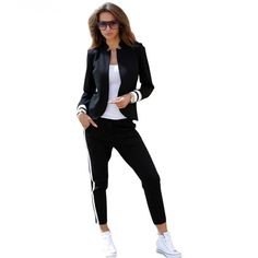 Cheap set suit, Buy Quality women 2 piece sets directly from China piece set Suppliers: TAOVK women 2 two Piece Set suits Long sleeve stand-up collar buttonless Black and white tracksuit White Tracksuit, Tracksuit Set, Blazers For Women, Pants For Women, Jackets For Women, Clothes For Women, Sport Fashion, Fashion Pants, Necklaces