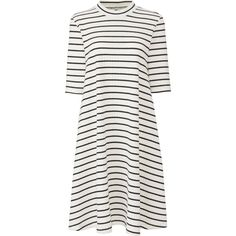 UNIQLO Women's Ribbed Cotton Flare Striped Dress (265.170 IDR) ❤ liked on Polyvore featuring dresses, off white, uniqlo dress, off white dress, nautical stripe dress, half sleeve dresses and flare mini dress