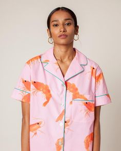 Be the Vacation Dad you always wanted to be in this bold, prawn-printed button down. It'll be a smash hit any way you style it. Cute Pajamas, Pajamas Women, Toddler Pajamas, Pajama Suit, Apron Dress, Cropped Cardigan, Fashion Fabric, Seersucker, Loungewear