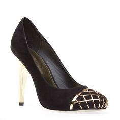 HANNE:  Faux-suede pump with metallic cap-toe with cut out design and mettallic heel. @shoedazzle.com