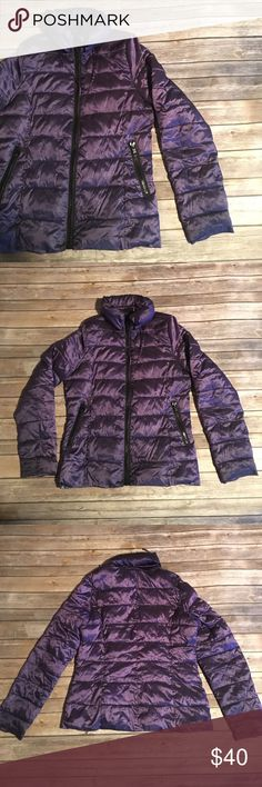 PURPLE PACKABLE PUFFER Like new condition. This key layering piece is amazing because you're able to crumble it into a little ball & pack it while you're traveling. Two zipper pockets plus unfoldable hood. Gorgeous water resistant purple. a.n.a Jackets & Coats Puffers