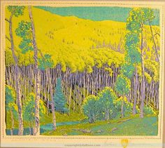 "Gustave Baumann (1881-1971) Color woodblock titled ""Mountain Gold"