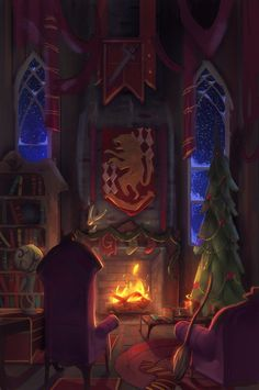 I painted the Gryffindor common room during Christmas time. : harrypotter I painted the Gryffindor common room during Christmas time. Fanart Harry Potter, Harry Potter Tumblr, Estilo Harry Potter, Arte Do Harry Potter, Harry Potter Drawings, Harry Potter Pictures, Harry Potter Wallpaper, Harry Potter Universal, Harry Potter Fandom