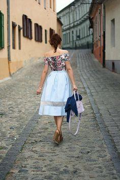 retro skirt on the street of Sibiu