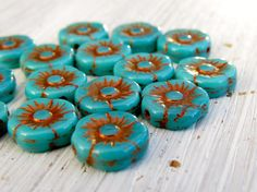 Turquoise Poppies - 11mm blue-green turquoise czech pressed glass flower beads with rich copper Picasso finish (10), czech glass beads