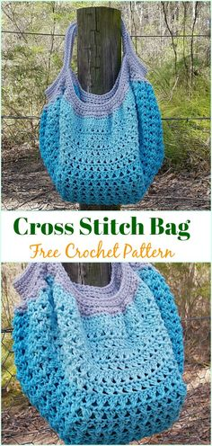 Cross Stitch Bag Free Crochet Pattern - #Crochet #Handbag Free Patterns